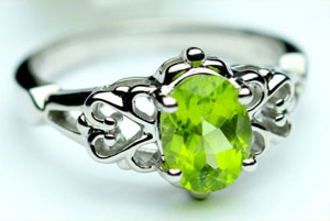 White gold and peridot ring from Gilbert jewelry store.