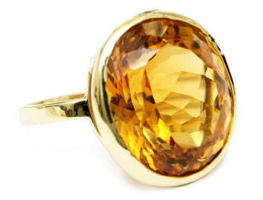 custom gold ring with citrine gemstone