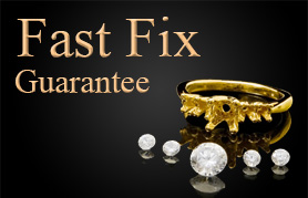 Jewelry repair fast fix services available depicted by broken ring.