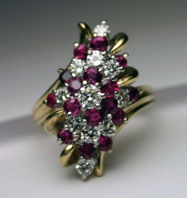 Ruby and diamond waterfall design forever diamonds for Waterfall design ring