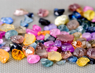 Rough cut sapphires of various colors